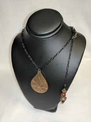 Bronze Cannabis Leaf with Carnelian Necklace