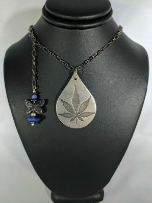 Sterling Silver Cannabis Leaf with Lapis Lazuli Necklace