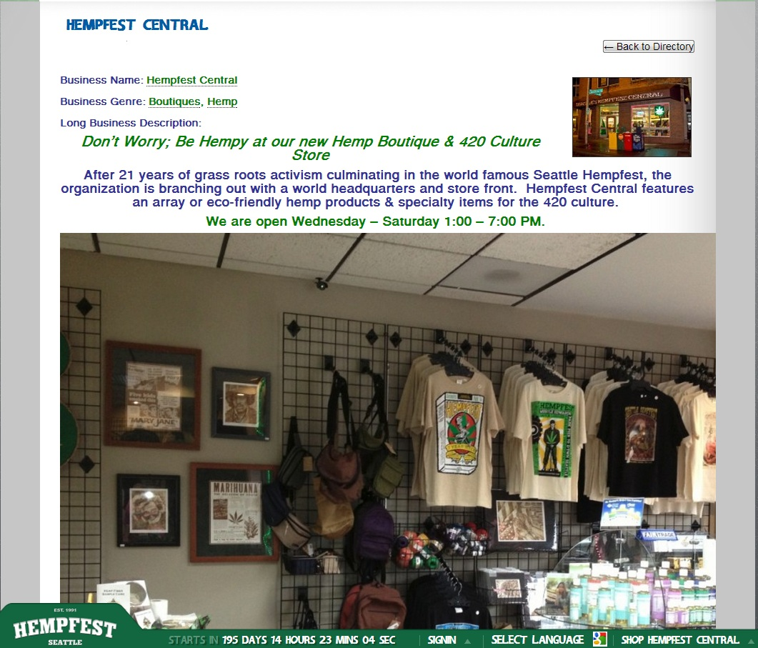Hempfest Friendly Business Pages Directory