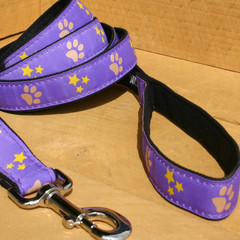 "Hemp Canvas Leash, ""Paws and Stars"""