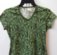 Reefer Camo, Women's Hemp V-Neck Tshirt