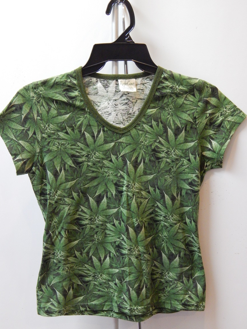 Reefer Camo, Women's Hemp V-Neck Tshirt – Large