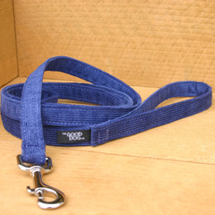 "Hemp Corduroy Leash, ""Blue"""