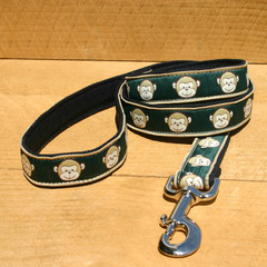 "Hemp Canvas Leash, ""Emerald Monkey"""