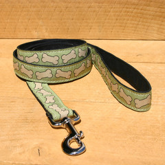 "Hemp Canvas Leash ""Pistachio Bones"""