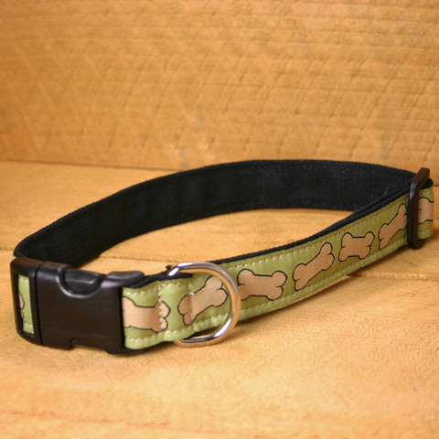 Collar, Hemp Canvas, Pistachio Bones