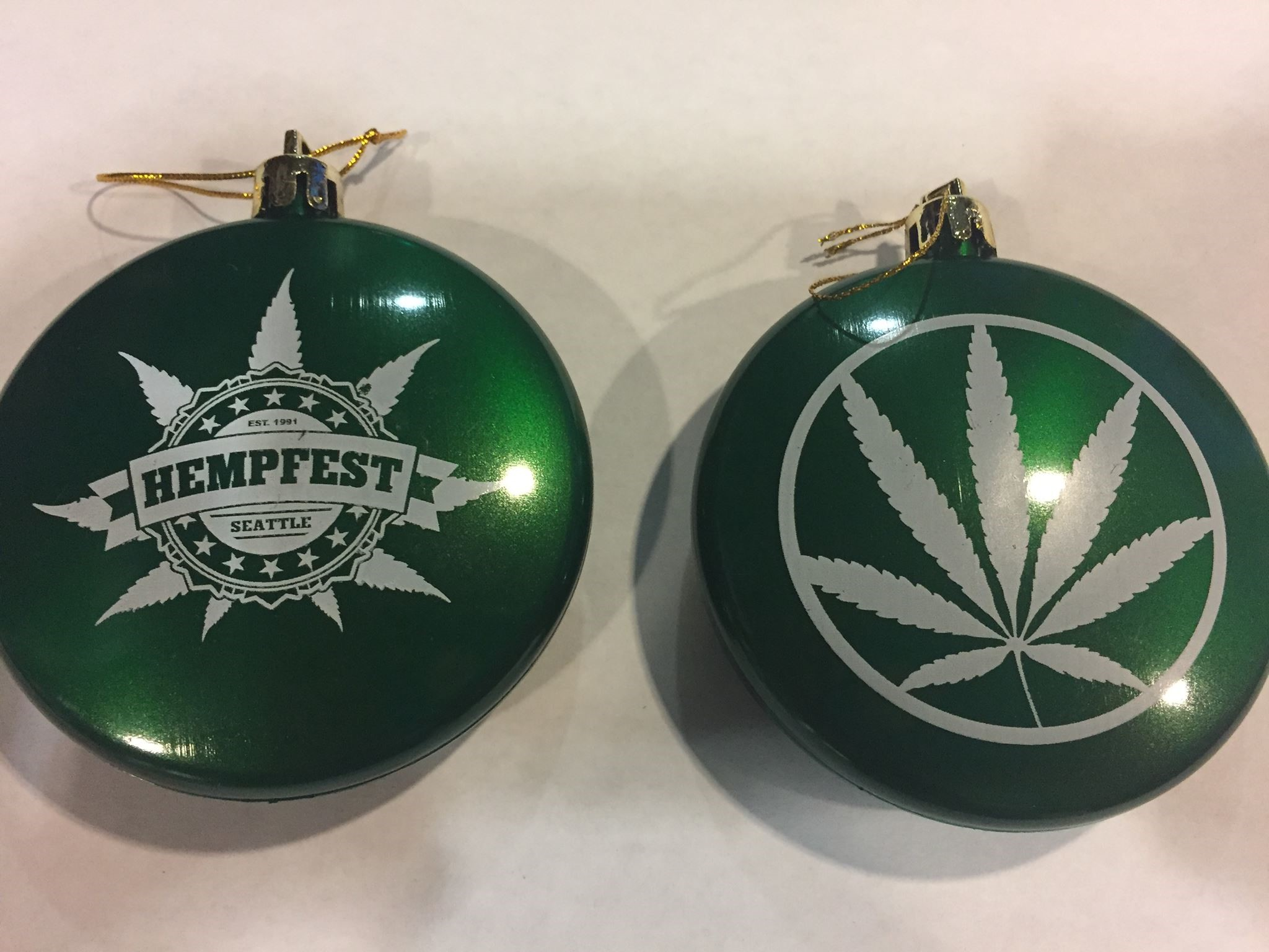 Ornament, Green, Double-Sided, Pot Leaf with Seattle HEMPFEST® Logo