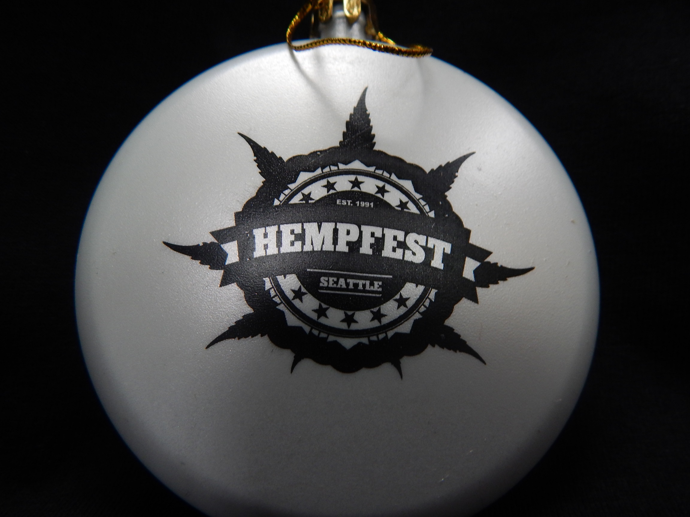 Ornament, Seattle Hempfest® Logo, White