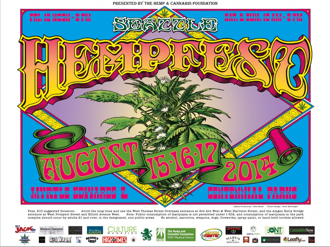 Tshirt, 2014, Seattle Hempfest® Flower Hemp & Cotton!