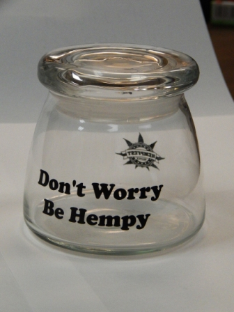 Glass Stash Jar, Be Hempy!