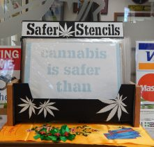 "Safer Stencils, ""Cannabis/MJ is Safer than…"""