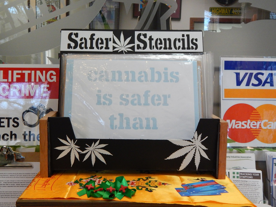 """Safer Stencils, """"Cannabis is Safer than Alcohol"""""""