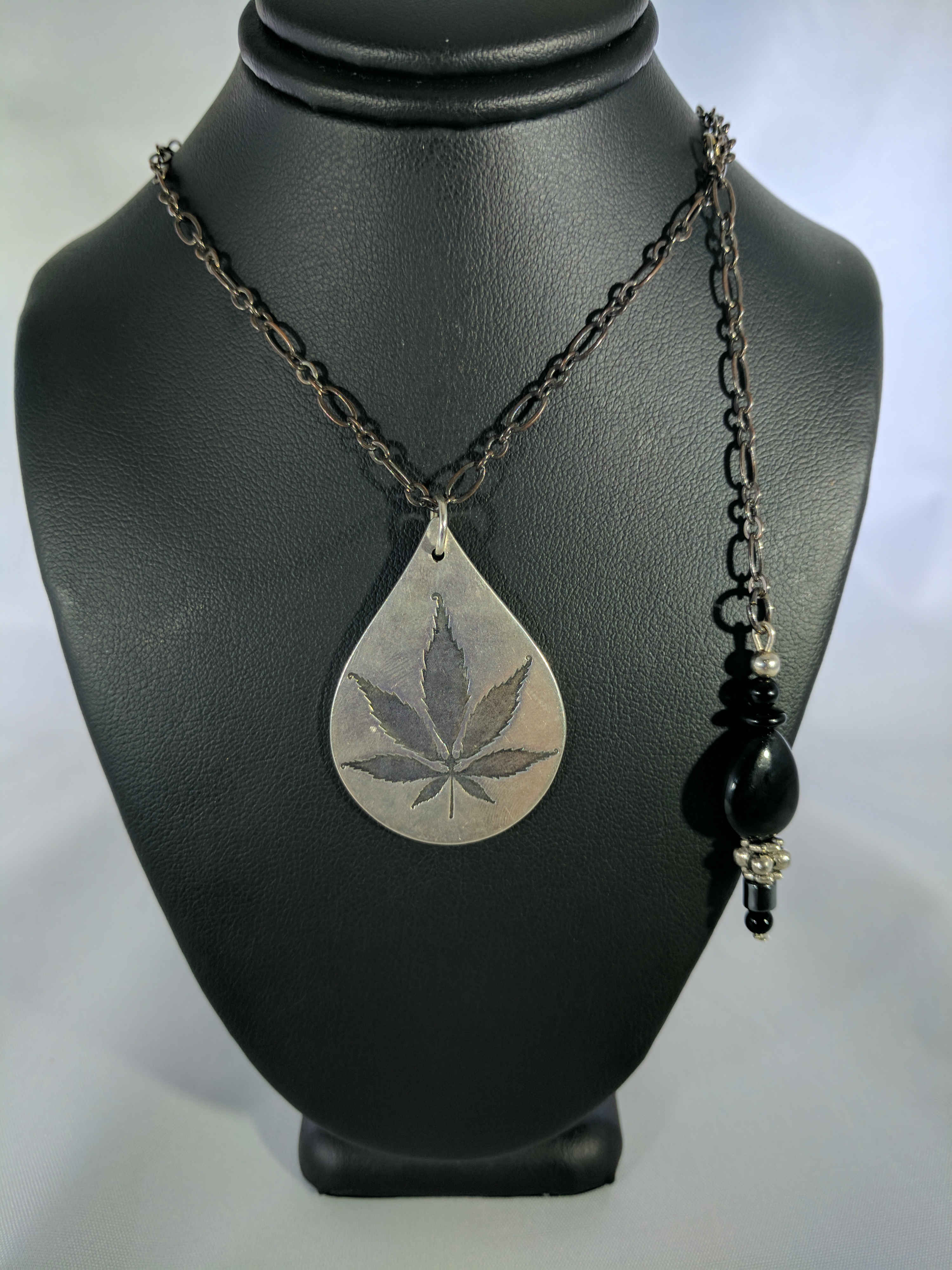 Sterling Silver Cannabis Leaf with Black Onyx Necklace